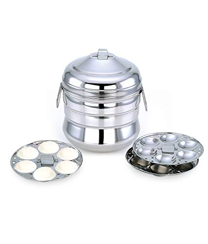 Mitali Stainless Steel Induction Base Idly Cooker/Maker/Panai with 3 Idly Plates (18 Idlis)