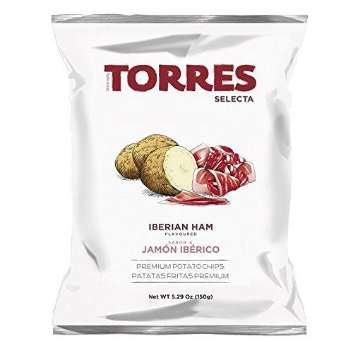 Torres - Patatas Fritas Selecta Sabor a Jamón Ibérico - Pack de 15 (15 x 150 gramos)