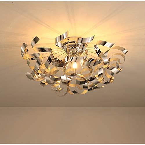 TANNLAMP GU10 × 3 Moderne spiraal plafondlamp creatieve verlichting hanger roestvrij staal pailletten slaapkamer metaal huis voor woonkamer, eetkamer, kantoor - chroom