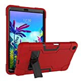 Cherrry for LG G Pad 5 10.1 inch Tablet Case, Kids Friendly Hybrid Full-Body Shockproof Armor Defender Rugged Protective Case Cover for LG G Pad 5 10.1 inch 2019 (Red/Black)