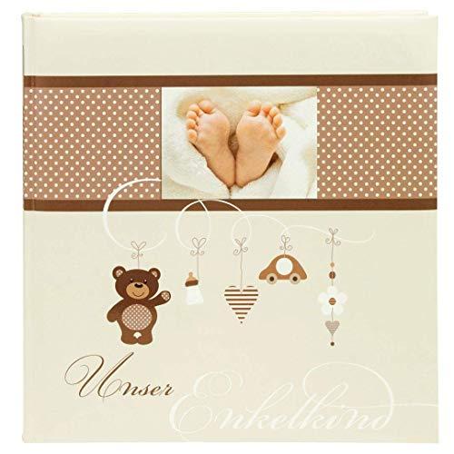 goldbuch Enkelkindalbum, Little Mobile, 25 x 25 cm, 60 weiße Blankoseiten mit Pergamin-Trennblättern, Kunstdruck mit UV-Lack, Beige, 24237