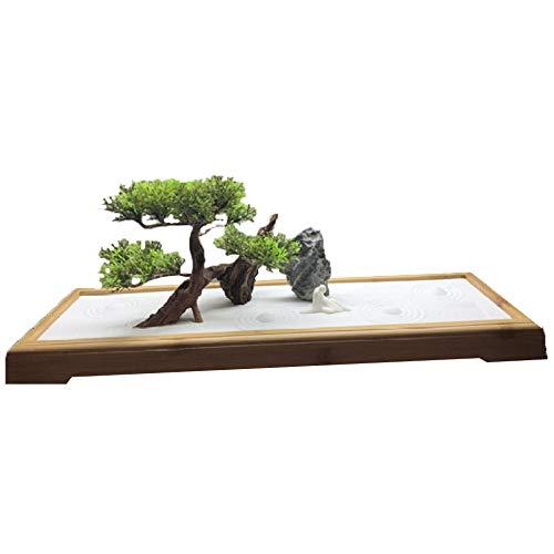 Hjyi Meditatie Zen Tuin, Meditatie Zen Tuin Chinese Stijl Zen Tuin Zand Desktop Ornament Droog Landschap Zandbak Effen Hout Zand Tafel Micro Landschap Meditatie Ontspannen Decoratie