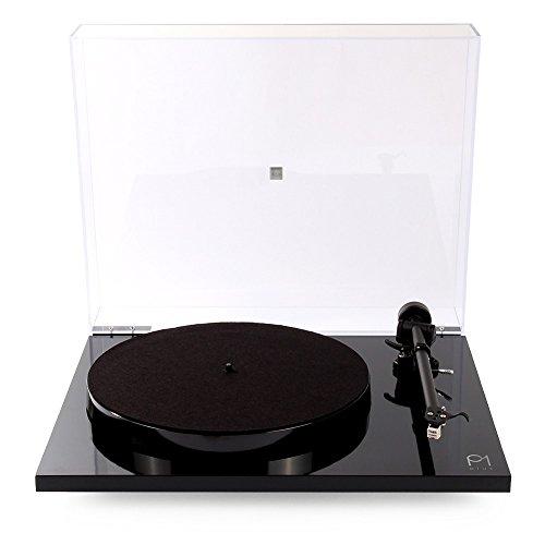 REGA Plattenspieler-Plattenspieler mit eingebauter Phono-Bühne und geschlossenem Deckel 40cm x 45cm x 12cm Schwarz