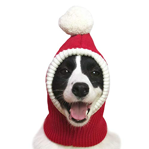 FLAdorepet Weihnachtsmütze für große mittelgroße Hunde, warm, Winterhut, Nackenwärmer und Stirnband, Schutz für Golden Retriever Labrador, L(Suit for medium and Large Dog), rot