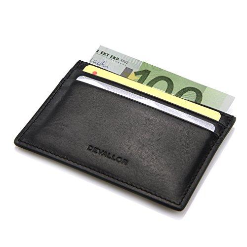 DEVALLOR® Flaches Kreditkartenetui aus italienischem Echtleder, Kleine Dünne Geldbörse Portemonnaie, schwarz