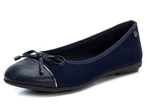 XTI - Zapato Bailarina para Mujer - Color Navy - Talla 39 (Ropa)