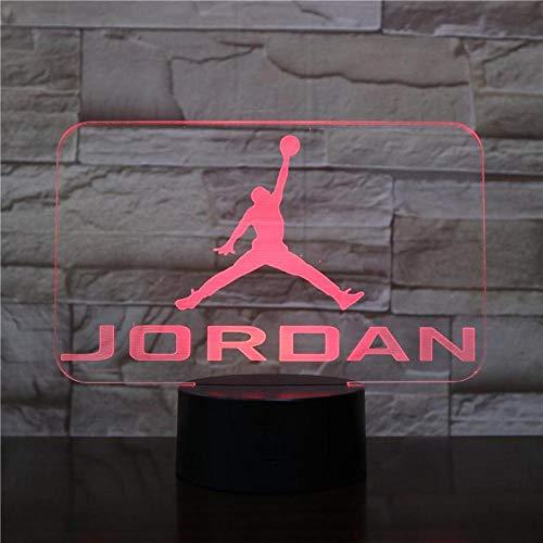 Scarpe da pallacanestro Jordan Uomini Night Light Led 3D Illusion Decor RGB Ragazzi Bambini Baby Gifts Lampada da tavolo Night Air Jordan 6 Sneakers USB ricaricabili fan di basket Presente H USB e Son