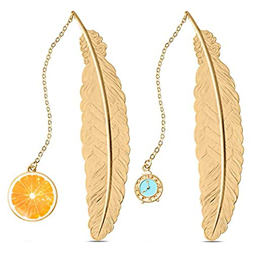 BILINGSLEY Metal Feather Pendant Student Reading Bookmark Holiday Gift High Quality Bookmark Golden Theme Bookmark Book Decoration Classic Fashion Art 3D Metal Chain Bookmark