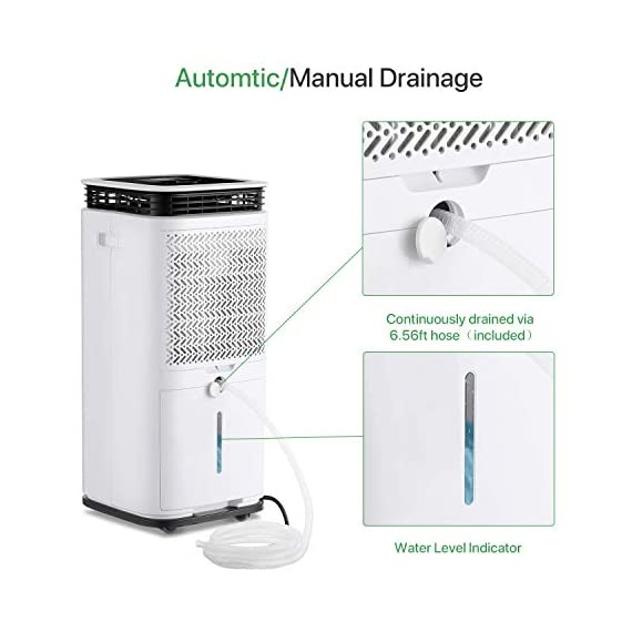 Waykar 4500 sq. Ft dehumidifier for home basements bedroom garage, removes 9 gallons moisture/day, with continuous drain… 3 dehumidifier for spaces up to 4500 sq ft- our dehumidifier are able to remove up to 70 pints (under 95°f,85%rh condition) of moisture per day. (please note: under 95°f,85%rh condition, the max dehumidification capacity up to 70 pints)in areas up to 4,500 sq. Ft and adjust humidity from 30% to 85%. It is a dehumidifier ideal for any basements, office, home, bathroom, bedroom, kitchen, stockroom, living room, laundry room, cellars, crawlspace, large spaces/room, etc.. Unique design for the modern home- the waykar dehumidifiers designed with the sleek and modern look. With built-in wheels and ergonomically placed handles, you can move this dehumidifier easily. A quiet fan that won't disturb you when you sleep or at work, adjustable fan speeds for multiple choices. There are 4 air outlets in the four sides of dehumidifier instead of that in one side, with this design will improve the speed of dehumidify. Intelligent touch control- there is an intelligent screen touch control panel display on the dehumidifier, you can operate it easily. Humidity auto control: simply adjust to your ideal moisture setting, it will smartly sense room humidity and control dehumidification to maintain pre-set humidity levels. 24-hour timer: for preset operation and reduced energy consumption. Automatic shut off/on: shuts off automatically when the bucket is full, and switch it on again after the bucket been emptied.