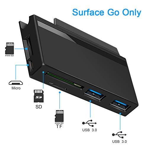 Surkit Surface Go Hub, 2 X USB 3.0, Übertragungsgeschwindigkeit bis zu 5 Gbit/s, Lese SD/Micro-SD-Karte, zusätzlicher TF-Steckplatz für Pen Drive. Unterstützt Externe Geräte mit Micro USB