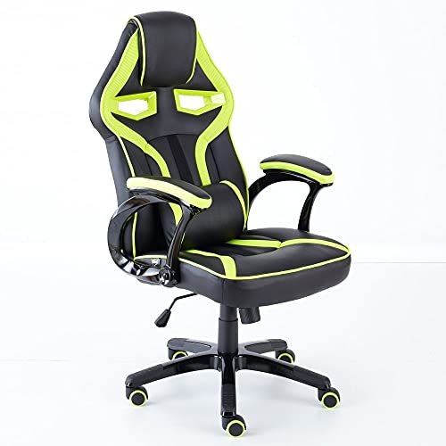 Neo® Executive PU Leather Sport Racing Car Gaming Office Chair with Lumbar Support (Lime Green & Black)