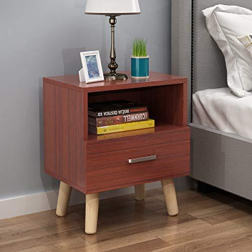 Nachtkastje LKU 1 lade massief houten nachtkastje massief houten poten boekenkast slaapkamer tafel, Teak kleur