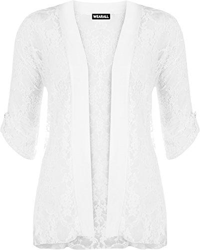 WearAll - Damen Übergröße Spitze Offen Cardigan Top - Weiß - 48