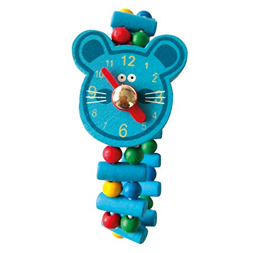 Bino Holzuhr Maus, Spielzeuguhr für Kinder ab 3 Jahre, Kinderspielzeug (Uhr ab 3 Jahre, multifunktionale Lehruhr für Vorschüler, bringt viel Spaß beim Lernen der Zeit, lustiges Design), Mehrfarbig