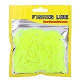 50 Pcs 5cm Señuelos de Pesca Suave Cebos de Pesca Artificiales Agua Dulce , Cebo de Pesca Plástico T-Tail Grub Cebos de Gusano Accesorio de Aparejo de Pescado(Verde Fluorescente)