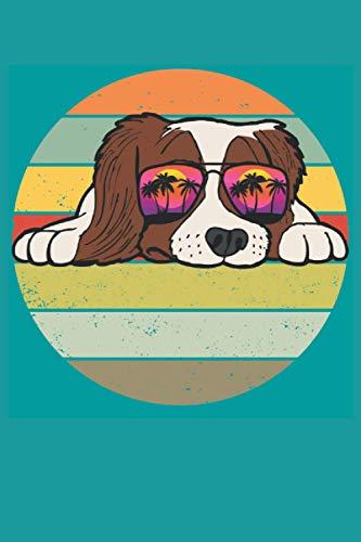 Lustiger Cocker Spaniel Hund Retro Notizbuch (Taschenbuch DIN A 5 Format Liniert): Cooler Hund Notizbuch, Notizheft, Schreibheft, Tagebuch. Tolle ... Sonnenbrille und Vintage Hintergrund Motiv.