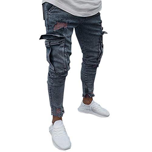 2021 Nuevo Pantalones Vaqueros para Hombre,Pantalones Casuales Moda Jeans Rotos Trend Largo Pantalones Cremallera Pants Skinny Pantalon Fitness Jeans Largos Pantalones Ropa de Hombre