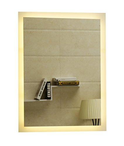 Badspiegel LED Spiegel GS084N mit Beleuchtung durch satinierte Lichtflächen Badezimmerspiegel (50 x 70 cm, warmweiß)
