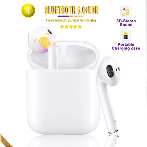 Bluetooth 5.0 Headset Earbuds Headphones Built-in Microphone and Charging Box, 3D high-Definition Stereo Noise Reduction, Suitable for Airpods/Android/iPhone/Samsung