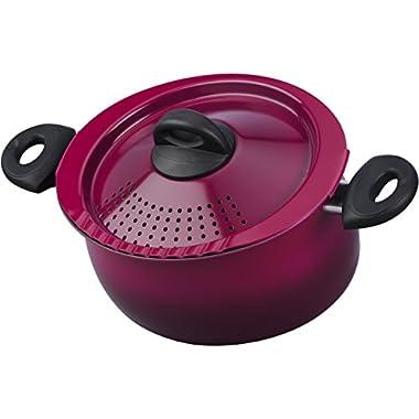 Bialetti 07549 Oval 5 Quart Pasta Pot with Strainer Lid, Nonstick, Raspberry Purple