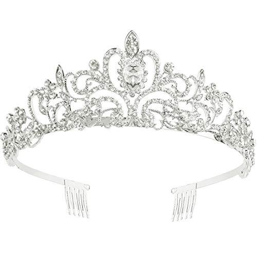 Makone Tiara Corona de Cristal con Diamantes de imitación Peine para Corona Nupcial Proms de Boda desfiles Princesas Fiesta de cumpleaños (Peine Estilo-4)