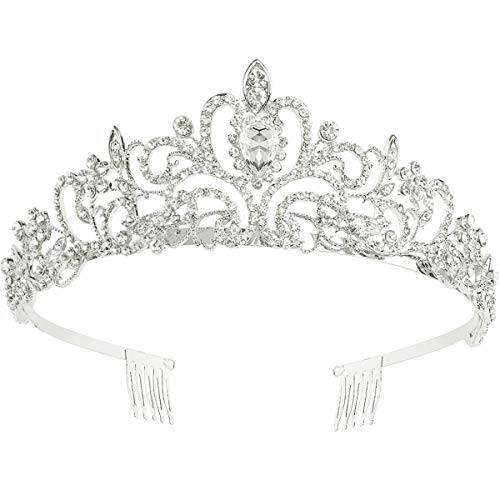 Makone Tiara Corona di Cristallo con Strass Pettine per la cerimonia nuziale Corona Prom Dresses Pageants Princess Parties Birthday (Stile pettine 4)