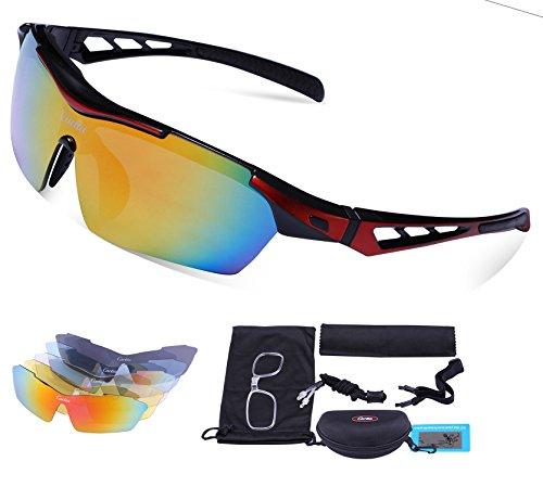 Carfia TR90 UV400 Unisex Gafas de Sol Deportivas Polarizadas 5 Lentes de Cambios Incluido para Deporte y Aire Libre Ciclismo Conducción Pesca Esquiar Golf Correr E