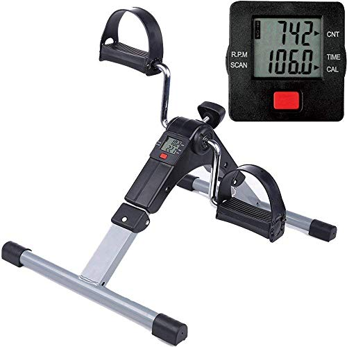 LUSH Folding Pedal Exerciser, Adjustable Resistance Mini gym cycle Lightweight Indoor Foot Peddler Desk Bike with Electronic Display for Arms and Legs (Black with LCD Display)