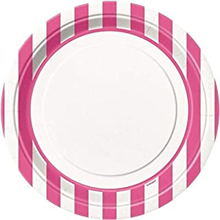 """Hot Pink Striped Plates 9"""""""