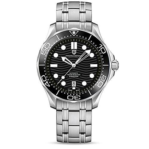 Pagani Design 007 Seamaster - Reloj de buceo automático para hombre, correa de acero inoxidable, bisel de cerámica, espejo curvo de zafiro, resistente al agua, 1685steel Black, Pulsera