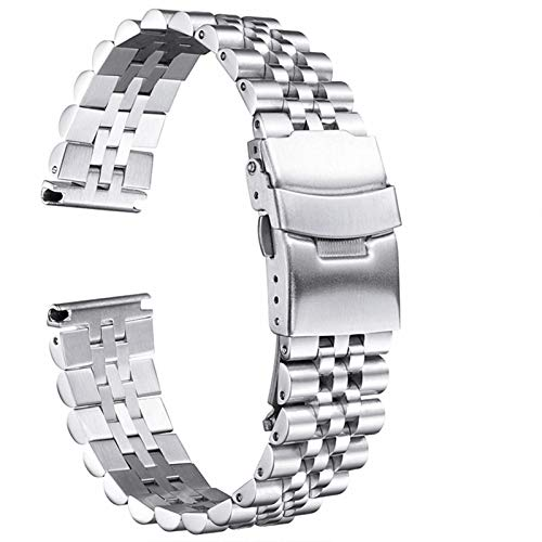 Love+djl Bracelets de montre Silk Glossy Edelstahl Uhrenarmband 18mm 20mm 22mm 23mm 24mm 26mm Uhrenarmband-Double Lock Schnalle Ersatzuhrenarmband-Werkzeug (Color : Silver, Size : 23mm)
