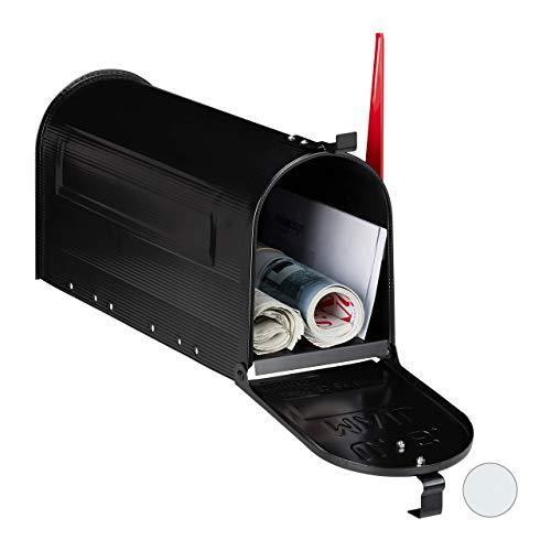 Relaxdays US Mailbox, Vintage, Fahne rot, originelle Zeitungsbox, Zeitungsrolle, Post box, Stahl, Zeitungsfach, schwarz, 1 Stück
