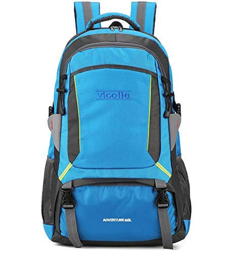 SHRAY 36-55L Outdoor Motion Mountaineering Bag Leisure Travel Backpack Men and Women High Capacity Waterproof Breathable Backpack Blue