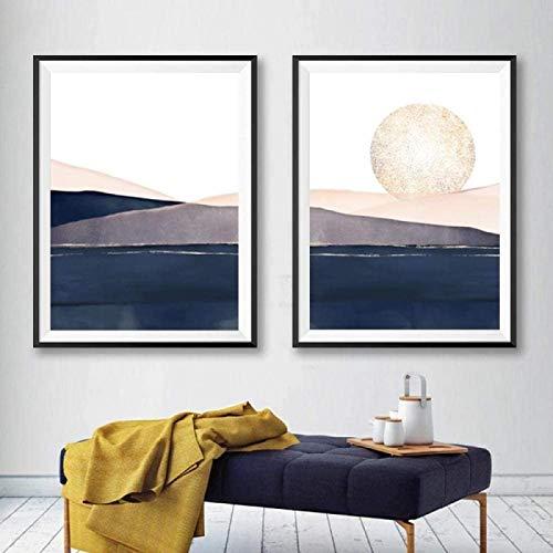 SHKHJBH Impression sur Toile Abstrait Coucher de Soleil Paysage Bleu Marine Rose Or Aquarelle Toile Peinture Affiches Photo Impression Chambre décor 2 pièces 20x30 cm sans Cadre