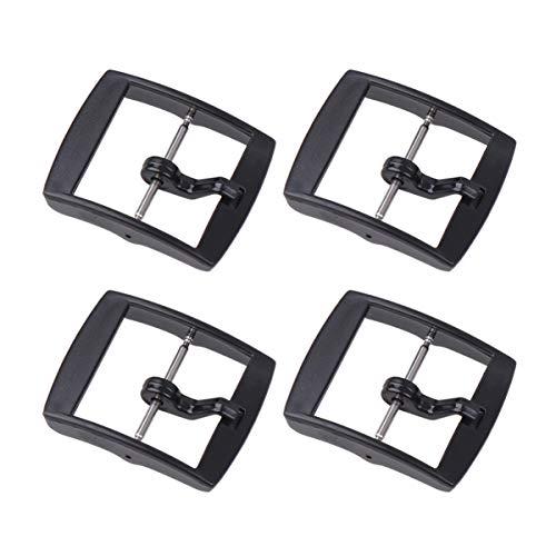 ibasenice - Lote de 4 Correas de plástico de Repuesto para Reloj, Hebilla y Cierre, 20 mm 3 * 2.5cm Negro