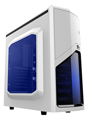 Talius Drakko - caja gaming ATX, USB 3.0, USB 2.0, ventilador 12cm led azul, color blanco