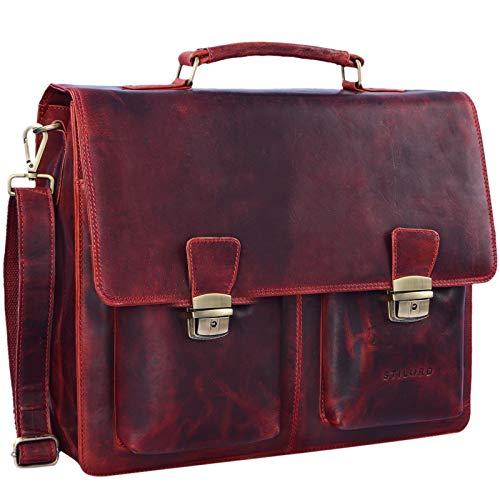 STILORD 'Tiberius' Retro Aktentasche Leder Businesstasche zum Umhängen DIN A4 Dokumententasche mit Schultergurt echtes Rindsleder, Farbe:Kara - rot