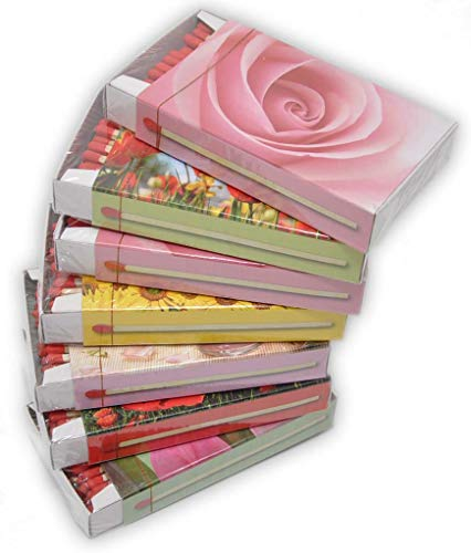jameitop®🌹 XL Streichholzschachteln Blumen Motive: 7 x 50er Packungen/Rosen/Mohn/Sonnenblumen Streichhölzer Zündhölzer
