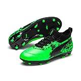 Puma One 19.3 FG/AG Jr, Zapatillas de Fútbol Unisex Niños, Verde (Green Gecko Black-Charcoal Gray), 38 EU