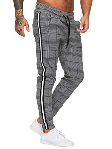 OneRedox Herren | Jogginghose | Trainingshose | Sport Fitness | Gym | Training | Slim Fit | Sweatpants Streifen | Jogging-Hose | Stripe Pants | Modell 1227 (S, Grau)