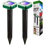 Livin' Well Solar Ultrasonic Pest Repeller Stakes - 2pk Outdoor Pest and Mouse Repellent with 2,500 Feet Range - Solar Powered Animal and Rodent Repellent and Deterrent for Squirrel, Mole, Gopher, Rat