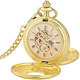 Skeleton Mechanical Pocket Watch with Classic Key Chain Engravable Double Cover Gold Automatic Watches Men Women
