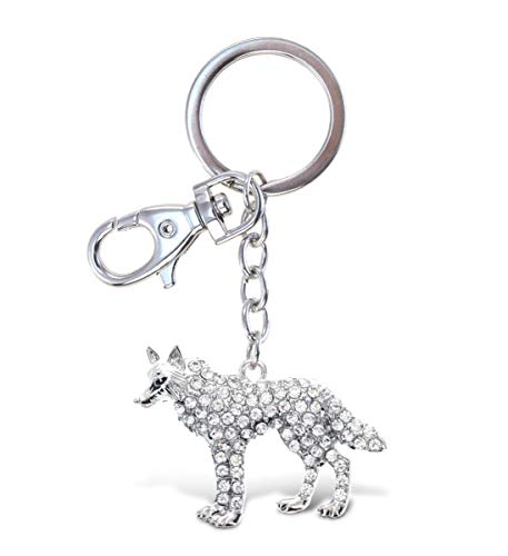 Aqua79 Wolf Keychain - Silver 3D Sparkling Charm Rhinestones Fashionable Stylish Metal Alloy Durable Key Ring Bling Crystal Jewelry Accessory With Clasp For Key Chain, Bag, Purse, Backpack, Handbag