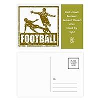 茶色のフットボール選手のスライドに取り組む 詩のポストカードセットサンクスカード郵送側20個