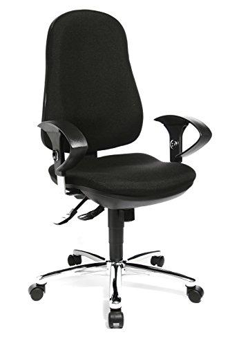 Topstar Support SY, ergonomischer Bürostuhl, Schreibtischstuhl, inkl. höhenverstellbare Armlehnen, Bezugsstoff, schwarz