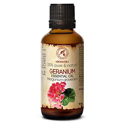 Geranium Ätherisches Öl 50ml - Pelargonium Graveolens - Madagaskar - 100prozent Reine und Natürliche Geranium Bourbon Öl für Aromatherapie - Aroma Diffuser - Duftlampe - SPA - Raumduft - Rosengeranie