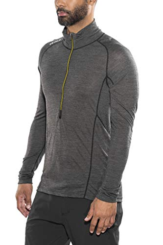 Devold Running Zip Neck LS Top Men, Anthracite Modèle S 2019 T-Shirt Manches Longues