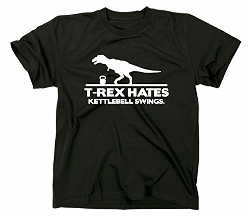 T-Rex Hates Kettlebell Swings Fun T-Shirt, XL, schwarz