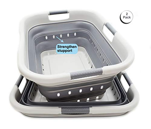 SAMMART Set of 2 Collapsible 3 Handled Plastic Laundry Basket - Foldable Pop Up Storage Container/Organizer - Portable Washing Tub - Space Saving Hamper/Basket (2, Grey/Dark Grey)