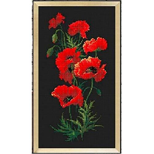 Rote Blumen-Kreuz-Stich-Paket Pflanze Sets Aida 18ct 14ct 11ct Schwarz Tuch Personen Kit Stickerei DIY Handgefertigte Hand Handgemachte Kreuzstich
